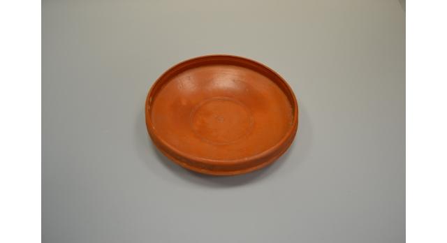 Римская краснолаковая тарелка/Оригинал, Римская империя, I-III вв., диам. 14 см, высота 3,5 см, с клеймом в виде цветка [др-50]