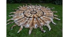 Меховое покрывало из лисьих шкур/Из натурально меха рыжей лисы с хвостами [пи-35]