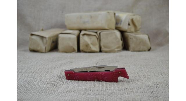 Нож складной двухпредметный длиной 100 мм/Оригинал СССР в красном цвете [хо-146]
