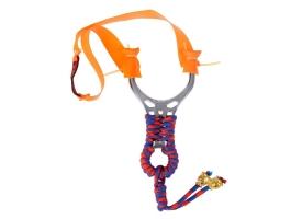 Рогатка, ленточный жгут оранжевый, рукоять металл в красно-синей оплетке, 7,5*13 см 1
