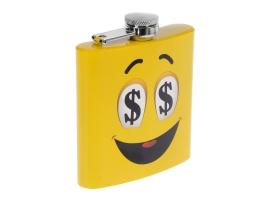 Фляжка 180 мл «Рожица с долларами», жёлтая, 9х11 см 1
