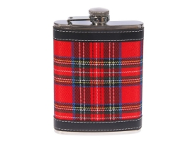 Фляжка 240 мл, металл, кожзам, красная шотландская клетка, 9х13.5 см