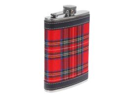 Фляжка 240 мл, металл, кожзам, красная шотландская клетка, 9х13.5 см 1