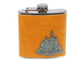 "Фляжка 180 мл ""Москва"", оранжевая, 9.5х10.5 см"