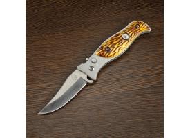 Нож перочинный лезвие clip-point 7,5см, рукоять птица хаки (фиксатор, кнопка) 17см МИКС 1