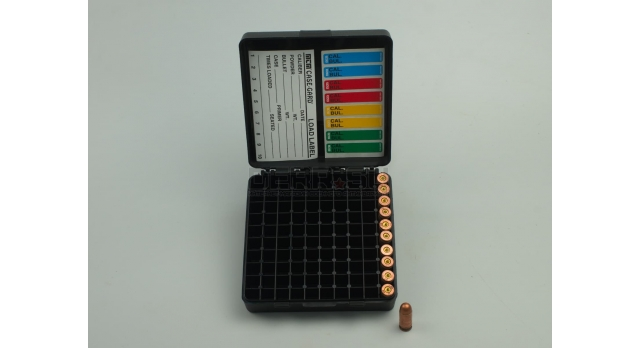 Контейнер пластиковый для патронов MTM Case Gard 100 / Черный на 100 патронов 9х19, .380 ACP, 9х18 новый [мт-324/1]