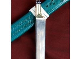 Нож Пчак Шархон средний, рукоять из латуни и рога, узкий прямой 1