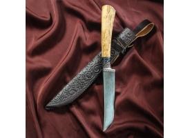 Нож Пчак Шархон, рукоять из берёзы (сухма), гарда из олова с гравировкой