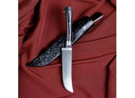 Нож Пчак Шархон -  чирчик, граб черный, ёрма, гарда олово. У8 (11-12 см)