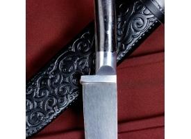 Нож Пчак Шархон -  чирчик, граб черный, ёрма, гарда олово. У8 (11-12 см) 1