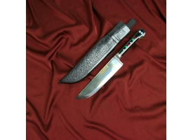 Нож Корд Куруш - оргстекло, гарда олово, Чуст, заточка от середины ШХ-15 (15-17см)