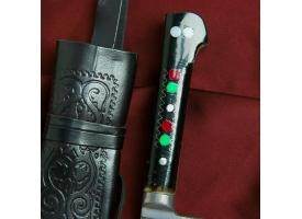 Нож Корд Куруш - оргстекло, гарда олово, Чуст, заточка от середины ШХ-15 (15-17см) 1