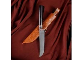 Нож Пчак Шархон - граб черный, сухма, пуговица, гарда олово гравировка У8 (13-14 см)