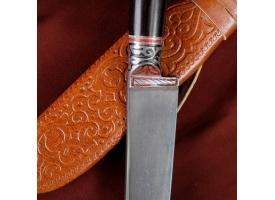 Нож Пчак Шархон - граб черный, сухма, пуговица, гарда олово гравировка У8 (13-14 см) 1