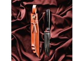 Нож Корд Куруш малый, чёрная рукоять из граба (сухма), гарда из олова с гравировкой 1
