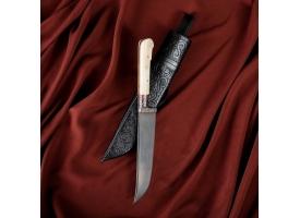 Нож Пчак Шархон малый, рукоять из кости (ёрма), гарда с гравировкой