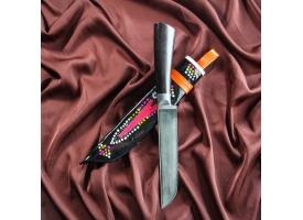 Нож Корд Куруш средний, чёрная рукоять из граба (сухма), гарда из олова