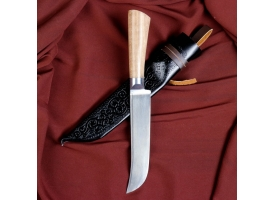 Нож Пчак Шархон узкий средний, рукоять из ореха (сухма), гарда из олова