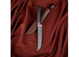 Нож Пчак Шархон - граб черный, сухма, пуговица, гарда олово гравировка У8 (13-16 см)