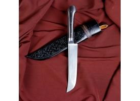 Нож Пчак Шархон - средний, граб черный, ёрма, гарда олово. У8 (15-16 см)