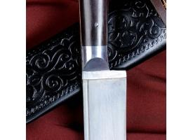 Нож Пчак Шархон - средний, граб черный, ёрма, гарда олово. У8 (15-16 см) 1