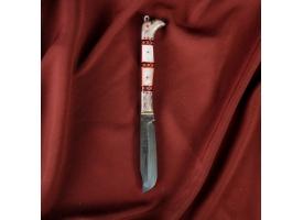 """Нож Пчак Шархон - раскладной, серебро, рукоять """"Сапожок"""", инкрустация перламутр ШХ-15 1"""