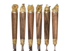 Шампуры 6 шт. «Разные звери» с рукоятью из ореха и латуни