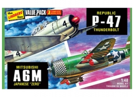 Склеиваемая модель Hawk Lindberg 1/48 2 pack WWII Adversaries (P-47 Thunderbolt &