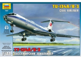Сборная модель ZVEZDA Пассажирский авиалайнер Ту-134А/Б-3, 1/144