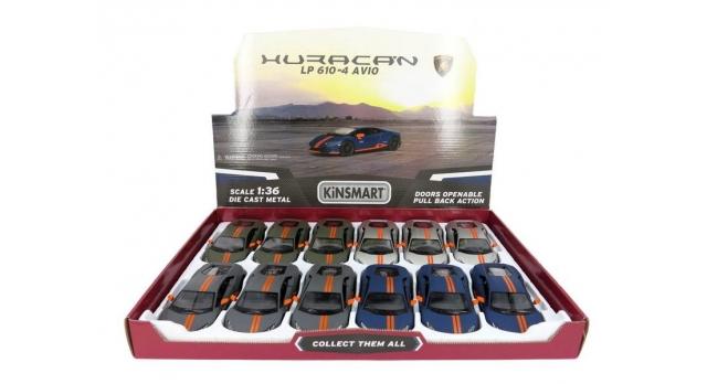 Машина Kinsmart 1:38 Lamborghini Huracan LP610-4 Avio Matte, инерция (1/12шт.) б/к 4