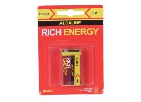 """Батарейка Rich Energy 9V, """"Крона"""", 6LR61 Alkaline (1шт)"""