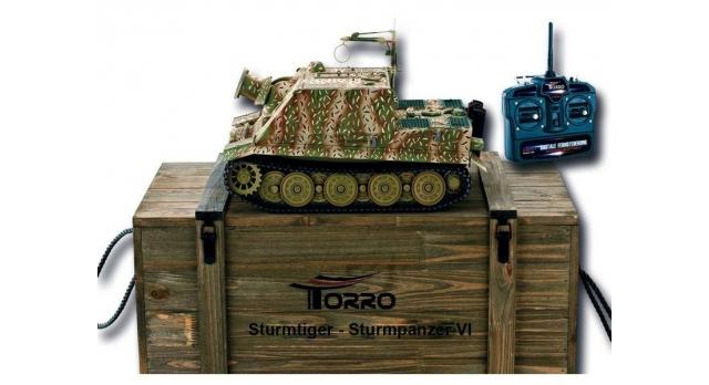 Р/У танк Torro Sturmtiger Panzer 1/16  2.4G, зеленый, ВВ-пушка, деревянная коробка 1