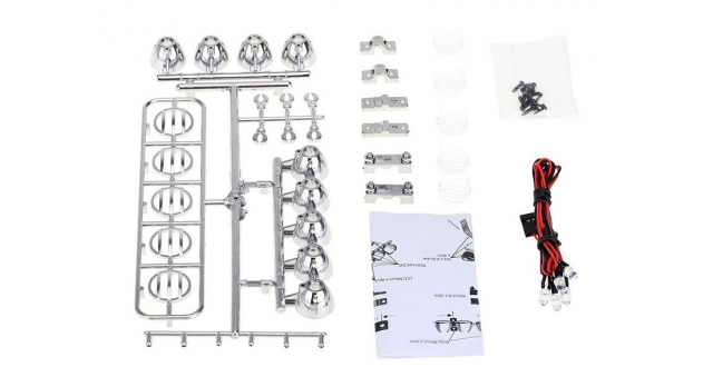 Передние светодиодные прожекторы на кузов для краулеров 1/10, серебристый 11