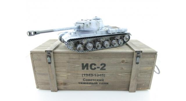 Р/У танк Taigen 1/16 ИС-2 модель 1944, СССР, зимний, (для ИК танкового боя) 2.4G, деревянная коробка 17