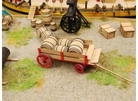 Сборная картонная модель Shipyard телега с бочками (№80), 1/72 1