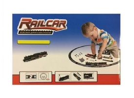 Железная дорога HQ 120 деталей, с локомотивом на батарейках, черный вагон 1
