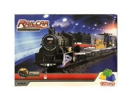 Железная дорога HQ 120 деталей, с локомотивом на батарейках, желтый-вагон