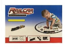 Железная дорога HQ 120 деталей, с локомотивом на батарейках, желтый-вагон 1