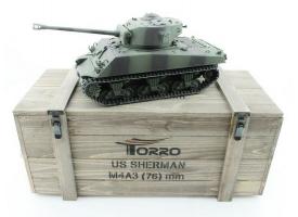 Р/У танк Torro Sherman M4A3 76mm, 1/16 2.4G, ИК-пушка, деревянная коробка