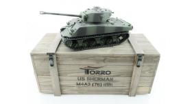 Р/У танк Torro Sherman M4A3 76mm, 1/16 2.4G, ИК-пушка, деревянная коробка 1