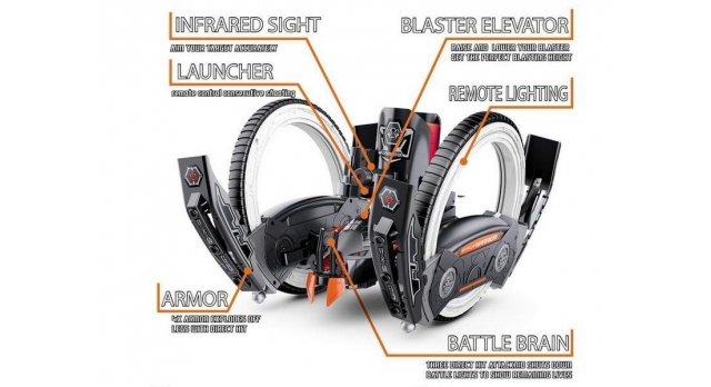 Р/У боевая машина Universe, лазер, диски, оранжевая, Ni-Mh и З/У, 2.4G 2