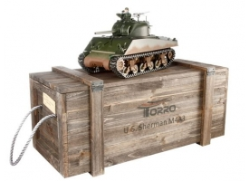 Р/У танк Torro Sherman M4A3, 1/16  2.4G, ИК-пушка, деревянная коробка
