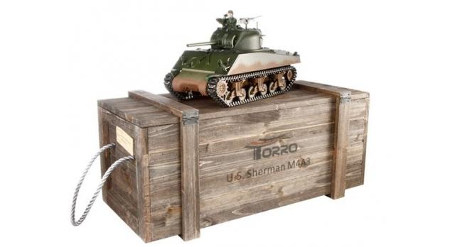 Р/У танк Torro Sherman M4A3, 1/16  2.4G, ИК-пушка, деревянная коробка 1