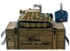 Р/У танк Torro Sturmtiger Panzer 1/16  2.4G, зеленый, ИК-пушка, деревянная коробка
