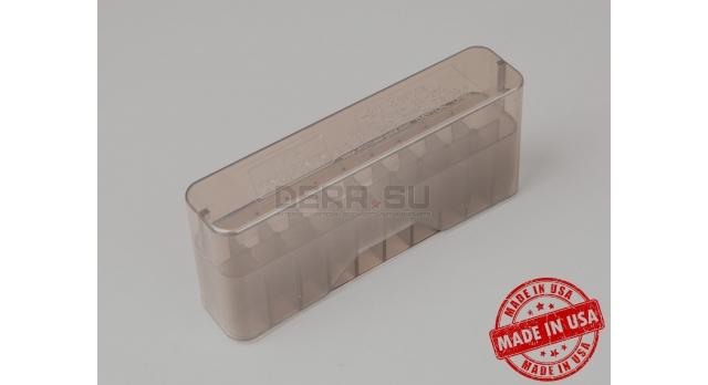 Коробка для 20 патронов / Прозрачная серая под промежуточный патрон калибры: 7,62х39; .243; 22-250 и подобные [мт-642]