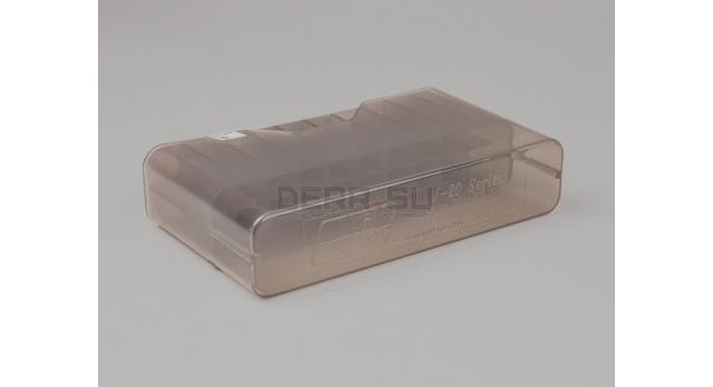 Коробка для 20 патронов /  Прозрачная серая под винтовочный патрон калибры: .308; 30-06; 270 win; 7,62x54 и подобные [мт-643]