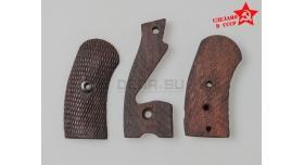 Накладки на рукоять для револьвера Наган / Деревянные оригинал с клеймом звезда мелкая насечка склад [наган-110]