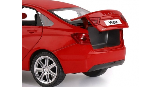 Машина &quotАВТОПАНОРАМА&quot LADA VESTA седан, 1/24,  красный, свет. звук. эффекты, в/к 24,5*12,5*10,5 см 8
