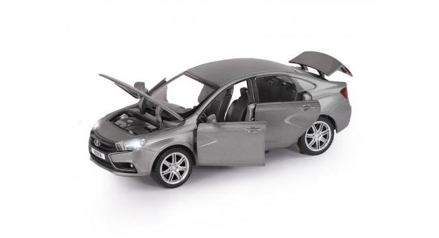 Машина &quotАВТОПАНОРАМА&quot LADA VESTA седан, 1/24,  серый, свет. звук. эффекты, в/к 24,5*12,5*10,5 см 4