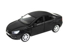 """Машина """"АВТОПАНОРАМА"""" LADA VESTA седан, 1/24,  черный металлик, свет, звук, в/к 24,5*12,5*10,5 см"""
